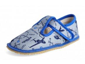 Papuče Beda barefoot - šedá letadla
