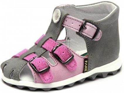 Dívčí sandálky šedo-růžové (Velikost 21)