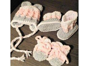 Set pro miminko (čepice, rukavice, capáčky)