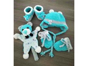 Set pro miminko (čepice, rukavice, capáčky, hračka)