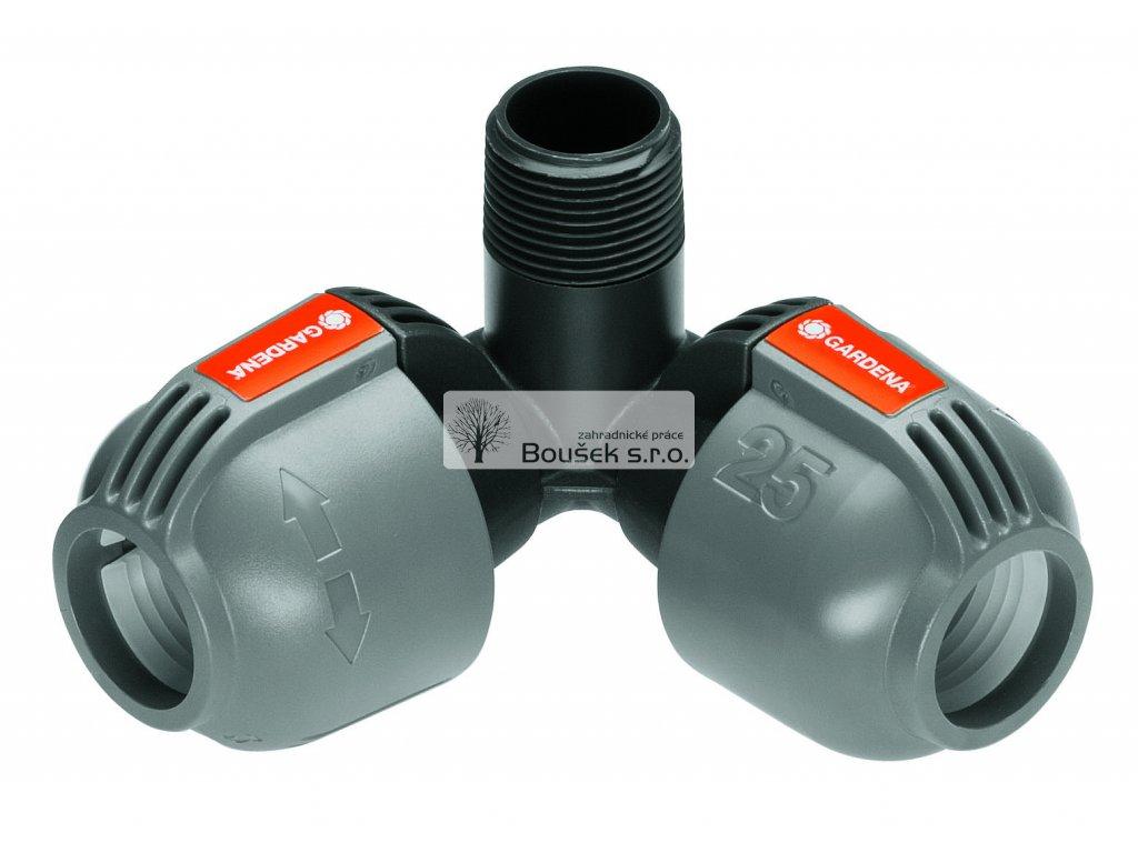 GARDENA L-kus 25 mm x vnější závit 3/4, rohová přípojka zadešťovače