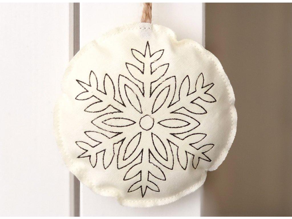 Látková závěsná vánoční dekorace sněžná vločka