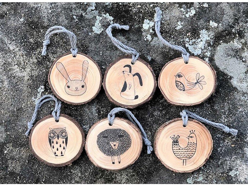 Dřevěné dekorace Jaro sada 6 kusů