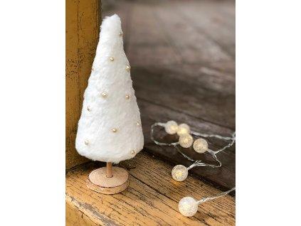 Dekorace bílý plyšový vánoční stromeček