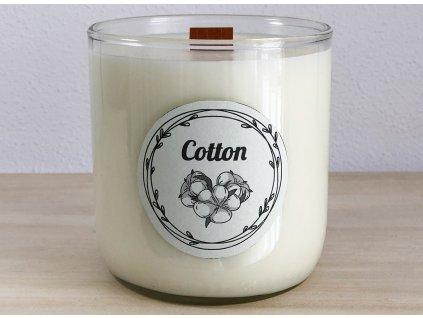 Dekorační vonná svíčka Cotton s vůní Lila bavlna