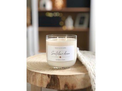 Vonná svíčka vůně Santalové dřevo v křišťálovém skle 330 ml