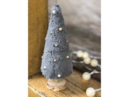 Dekorace šedý plyšový vánoční stromeček