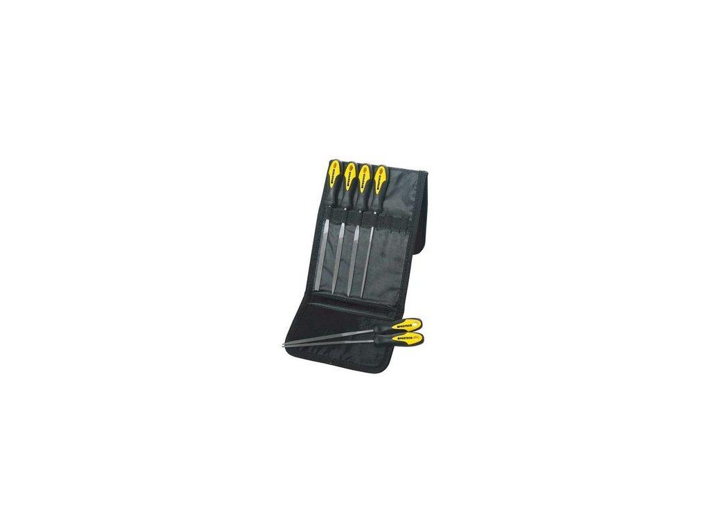 Sada jehlových pilníků 6-dílná s rukojetí v pouzdru