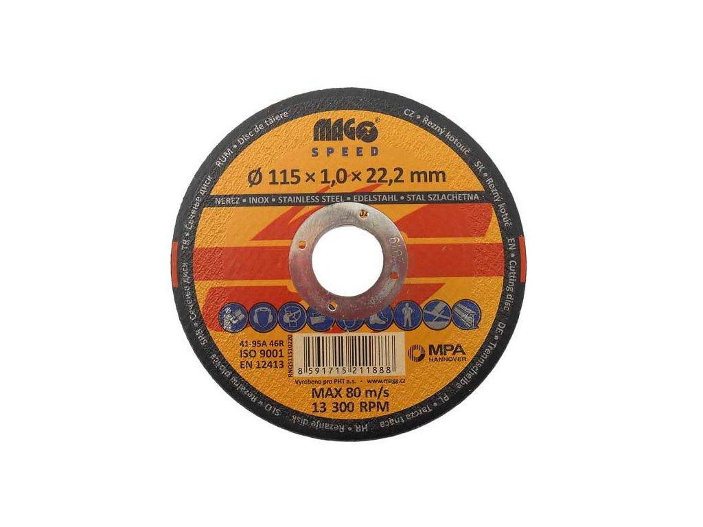 Řezný kotouč na nerez 115x1,0x22,0mm MAGG SPEED