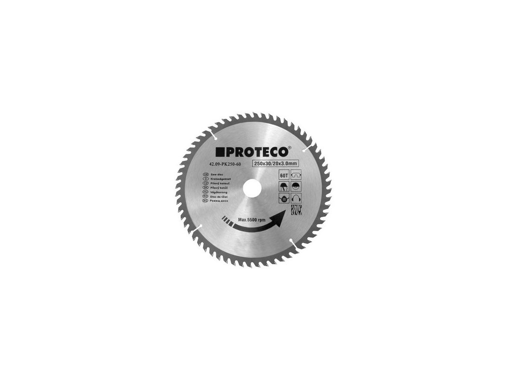 Pilový kotouč SK 200x2.6x30 60Z + redukce 30/20 mm PROTECO 42.09-PK200-60