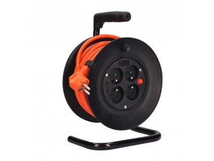 Solight prodlužovací kabel, 4 zásuvky, 15m, oranžový kabel