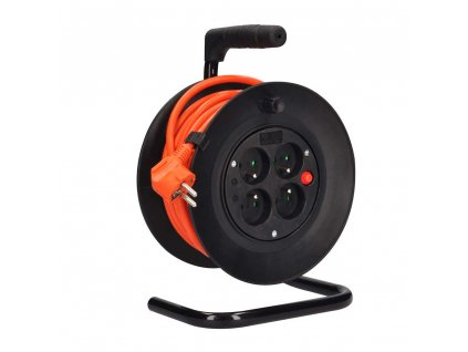 Solight prodlužovací přívod na bubnu, 4 zásuvky, oranžový kabel…