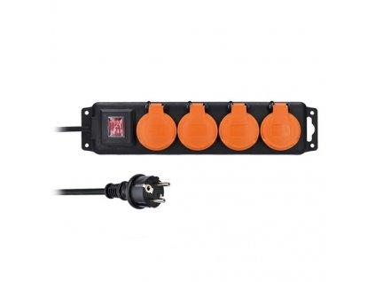 SOLIGHT prodlužovací přívod IP44, 4 zásuvky gumový kabel