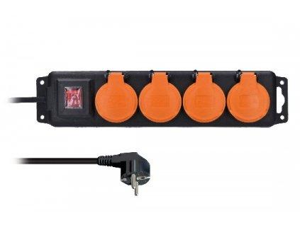 Solight prodlužovací přívod IP44, 4 zásuvky, vypínač, venkovní,…