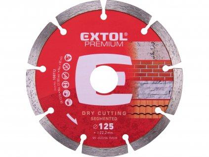 EXTOL PREMIUM kotouč diamantový řezný segmentový - suché řezání, O 125x22,2x2mm