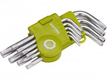 EXTOL CRAFT L-klíče TORX, sada 9ks, T 10-50, krátké