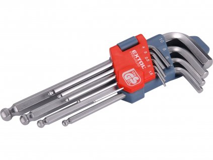 EXTOL PREMIUM L-klíče IMBUS, sada 9ks, 1,5-10mm, s kuličkou