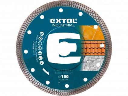 EXTOL INDUSTRIAL kotouč diamantový řezný, turbo Thin Cut, suché i mokré řezání, O 150x22,2x1,8mm