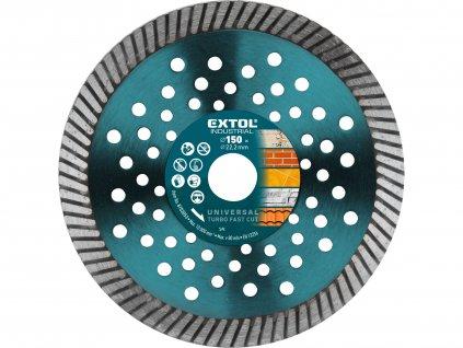 EXTOL INDUSTRIAL kotouč diamantový řezný, turbo Fast Cut, suché i mokré řezání, O 150x22,2x2,5mm