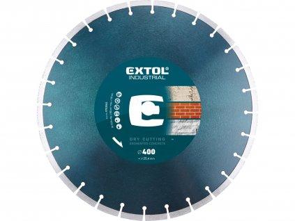 EXTOL INDUSTRIAL kotouč diamantový řezný segmentový na BETON, suché řezání, O 400x25,4x3,5mm