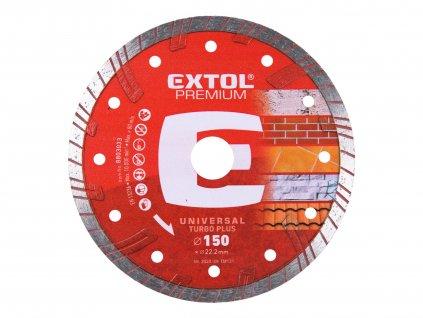 EXTOL PREMIUM kotouč diamantový řezný TURBO PLUS - suché i mokré řezání, O 150x22,2x2,5mm
