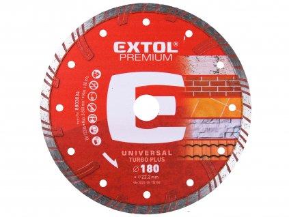 EXTOL PREMIUM kotouč diamantový řezný TURBO PLUS - suché i mokré řezání, O 180x22,2x2,8mm