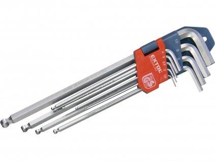 EXTOL PREMIUM L-klíče IMBUS prodloužené, sada 9ks, s kuličkou, 1,5-10mm