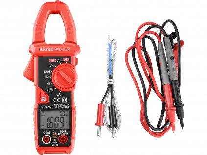 EXTOL PREMIUM multimetr digitální, klešťový, AC/DC proud a napětí, True RMS, LowZ, automatická volba rozsahů
