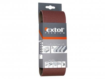 EXTOL PREMIUM plátna brusná nekonečný pás, bal. 3ks, 75x533mm, P40