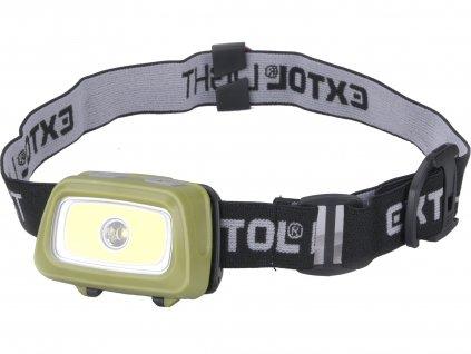 EXTOL LIGHT čelovka 250lm+250lm, 250lm Seoul LED, 250lm COB LED, červené/zelené světlo pro noční vidění