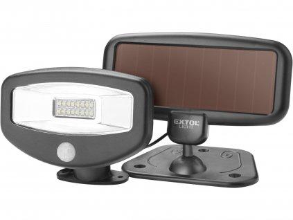EXTOL LIGHT reflektor LED s pohybovým čidlem, 100lm, solární nabíjení
