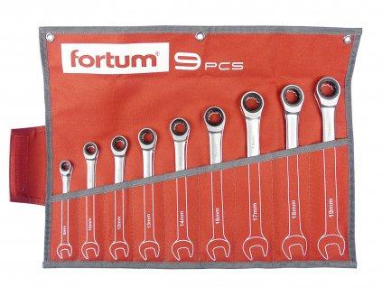 FORTUM klíče ráčnové očkoploché, sada 9ks, 8-19mm