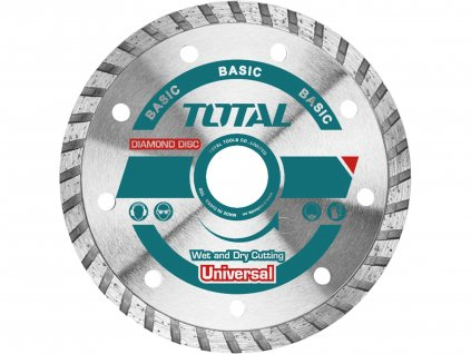 TOTAL Kotouč diamantový řezný, Turbo, suché i mokré řezání, 115x22,2mm