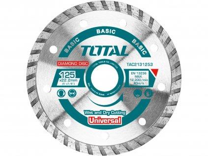 TOTAL Kotouč diamantový řezný, Turbo, suché i mokré řezání, 125x22,2mm