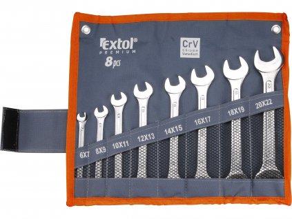 EXTOL PREMIUM klíče ploché, sada 8ks, 6-22mm, CrV