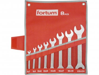 FORTUM klíče ploché, sada 8ks, 6-24mm, 61CrV5