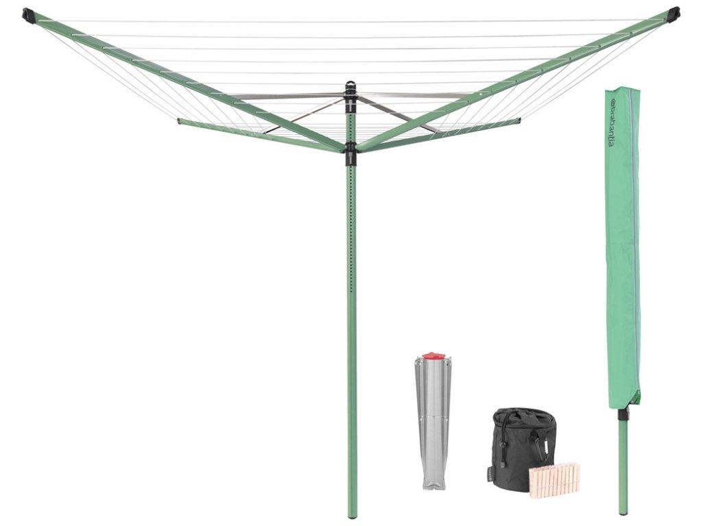 Zahradní sušák Brabantia Lift-O-Matic 50m s krytem, vakem a kolíčky zelený