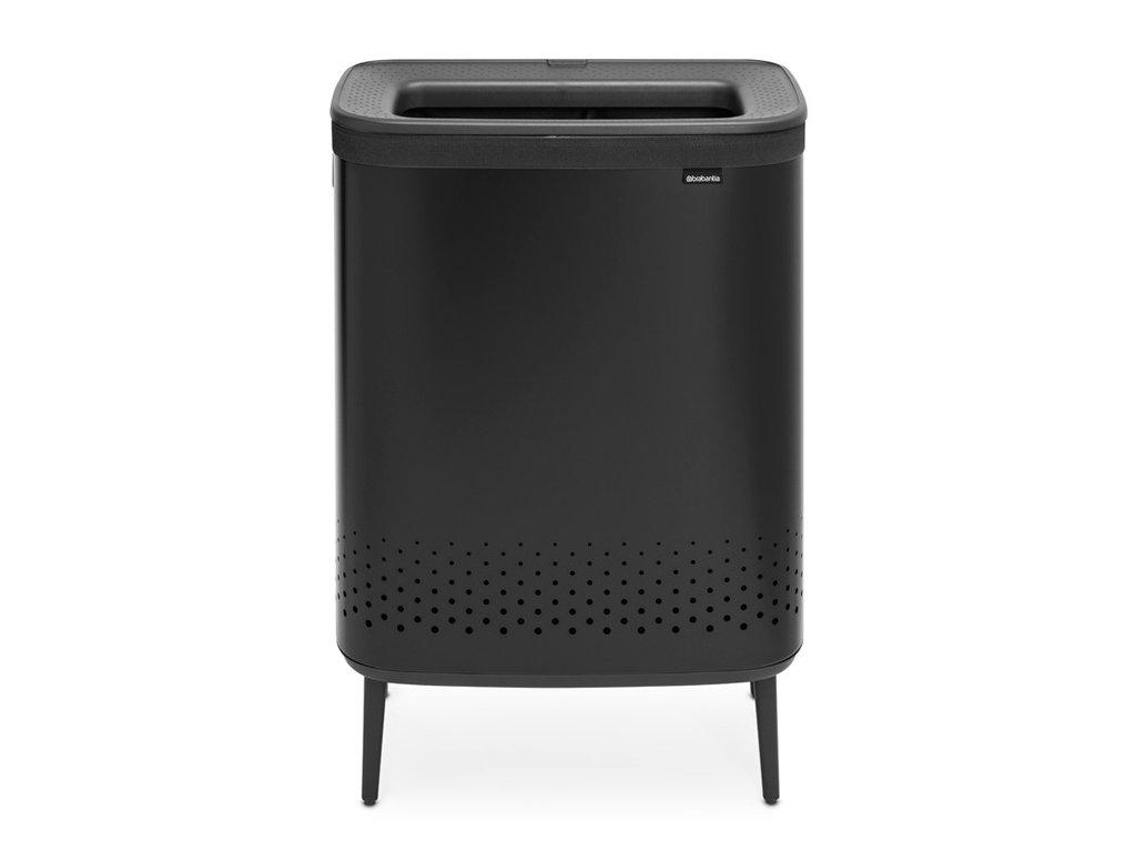 Bo Laundry Bin Hi, 2 x 45L, Plastic Lid Matt Black 8710755200564 Brabantia 96dpi 1000x1000px 7 NR 22114