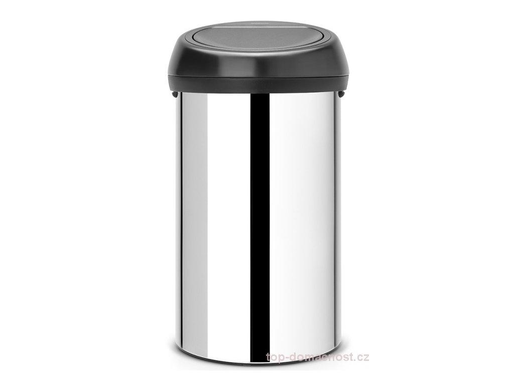 Koš Touch Bin 60L lesklá ocel/černé víko