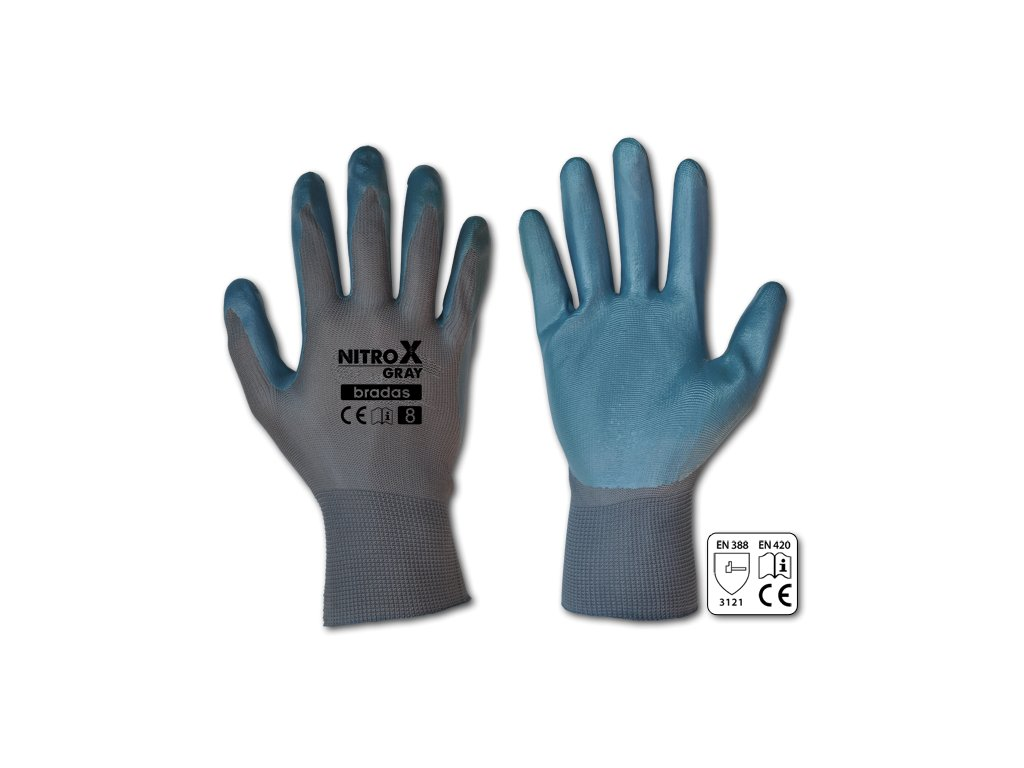 Pracovní rukavice potažené nitrilem, velikost M