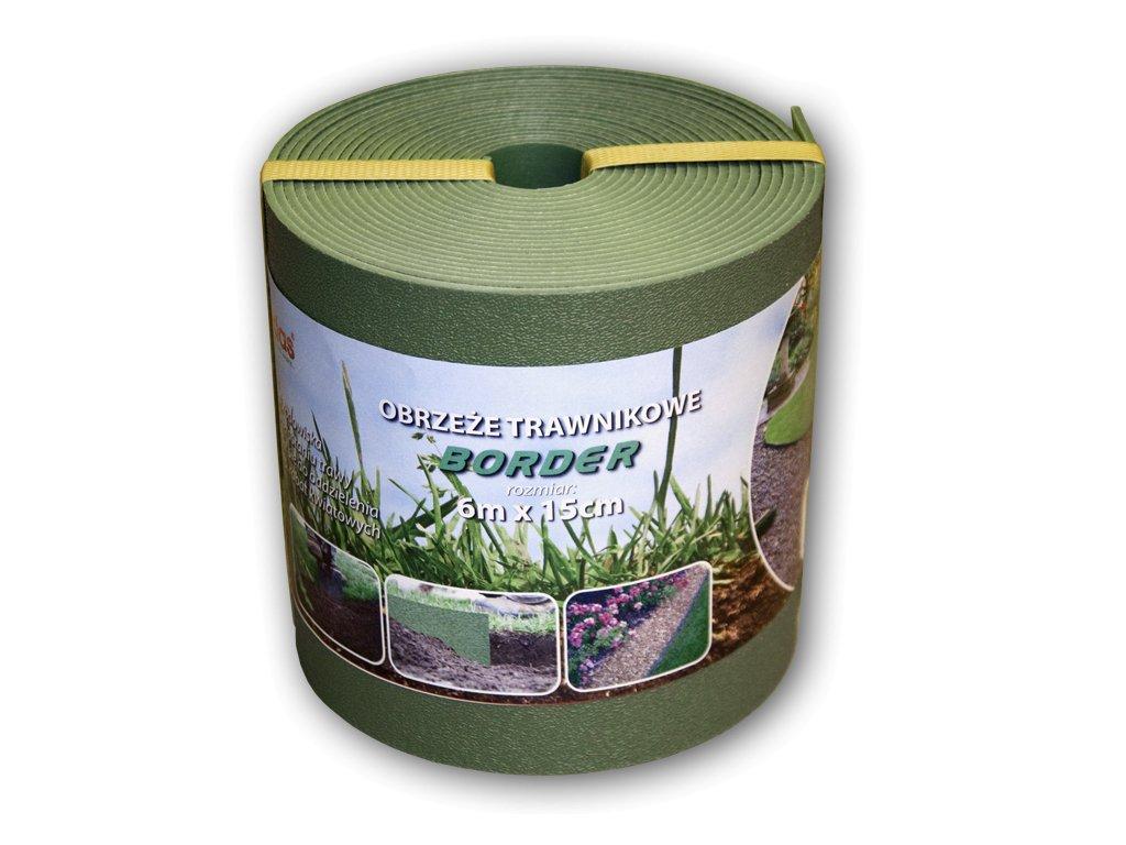Plastový obrubník ZELENÝ BRADAS - skrytá zahradní obruba BORDER 15cm - 6m