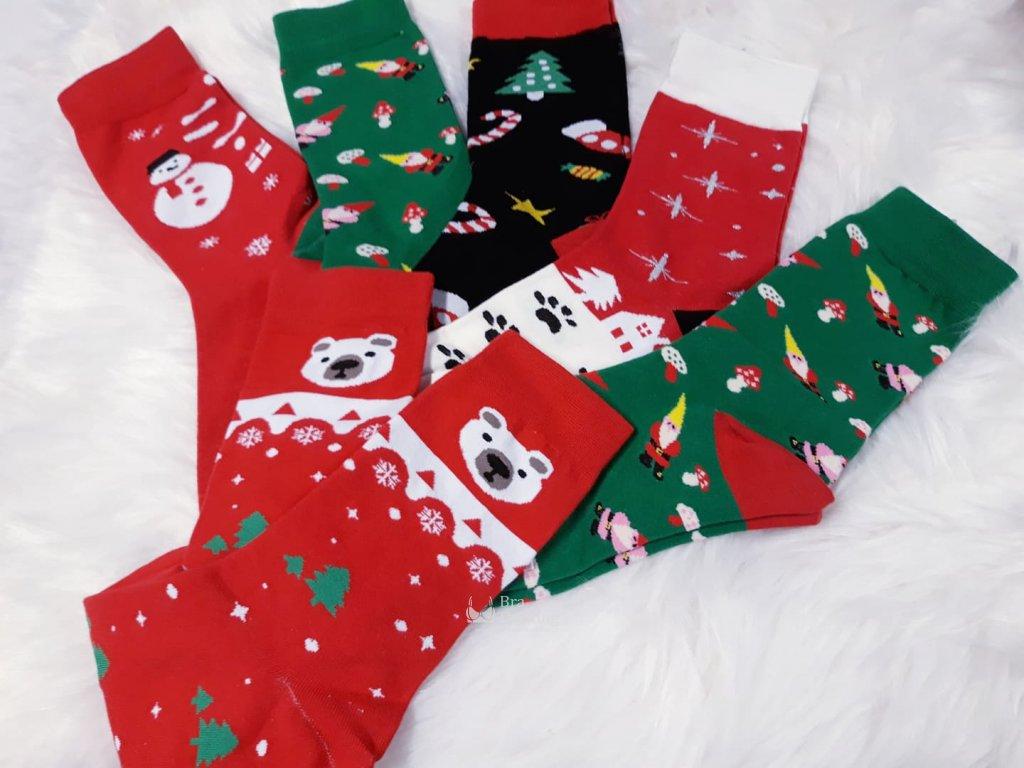 vesele obrazkove vanocni ponozky bavlna