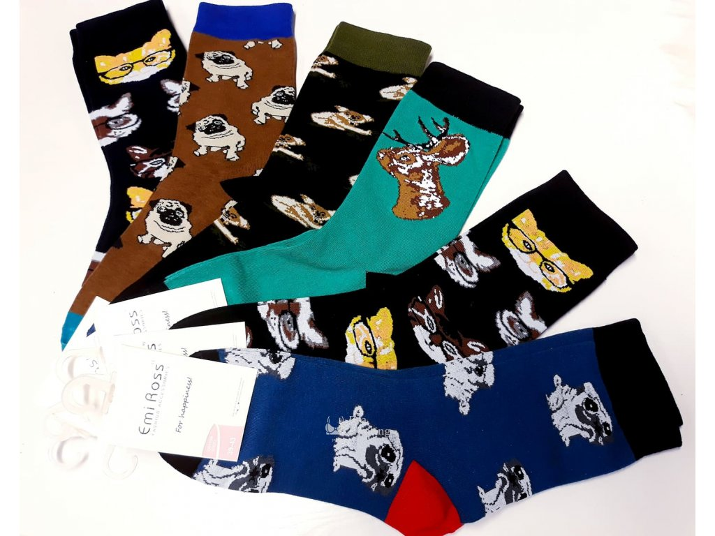 vesele bavlnene ponozky zviratka 6 barev