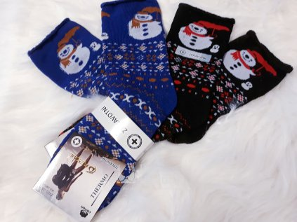 zdravotni bavlnene obrazkove vanocni ponozky snehulak modra 2pack