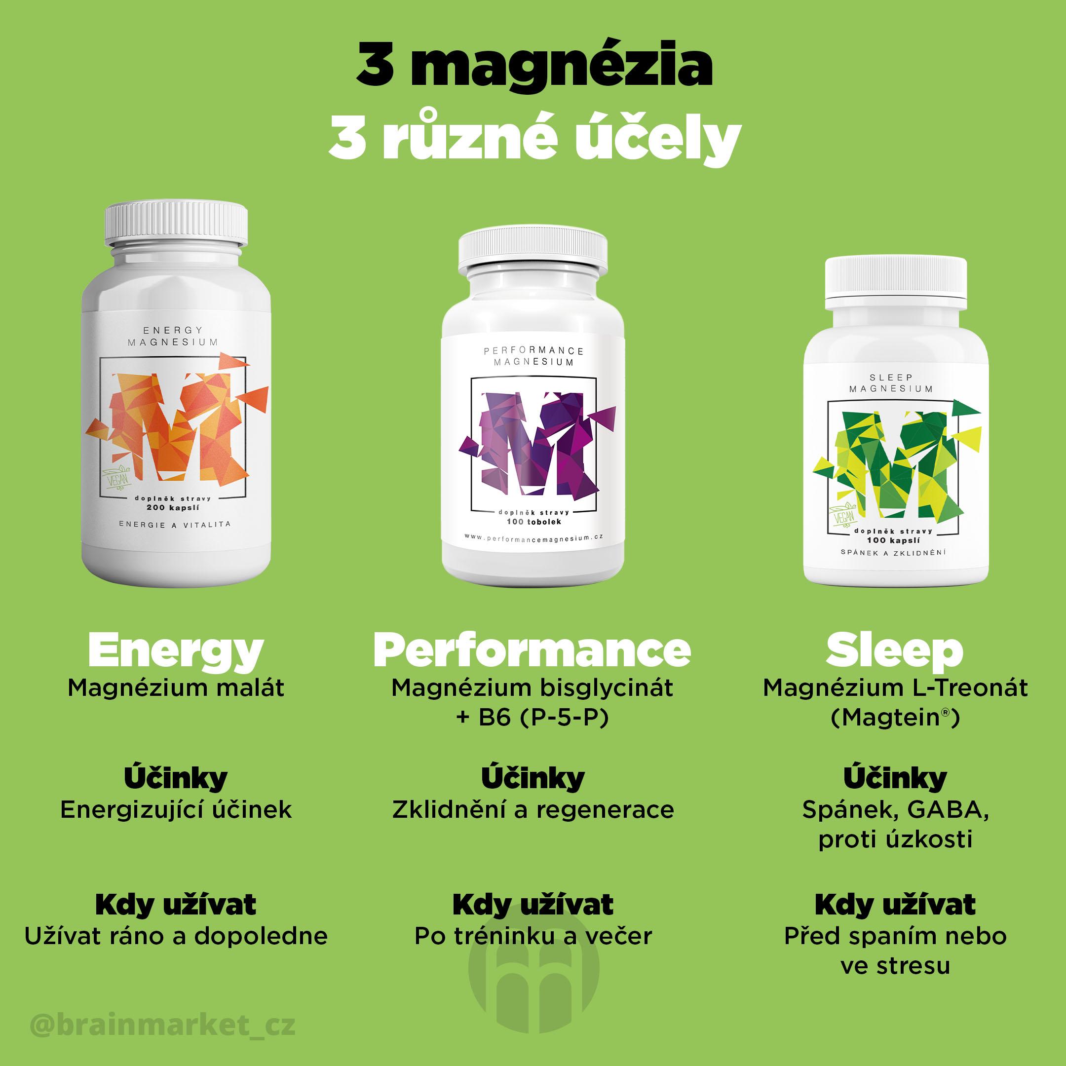 3 magnesia pro 3 různé účely a denní dobu
