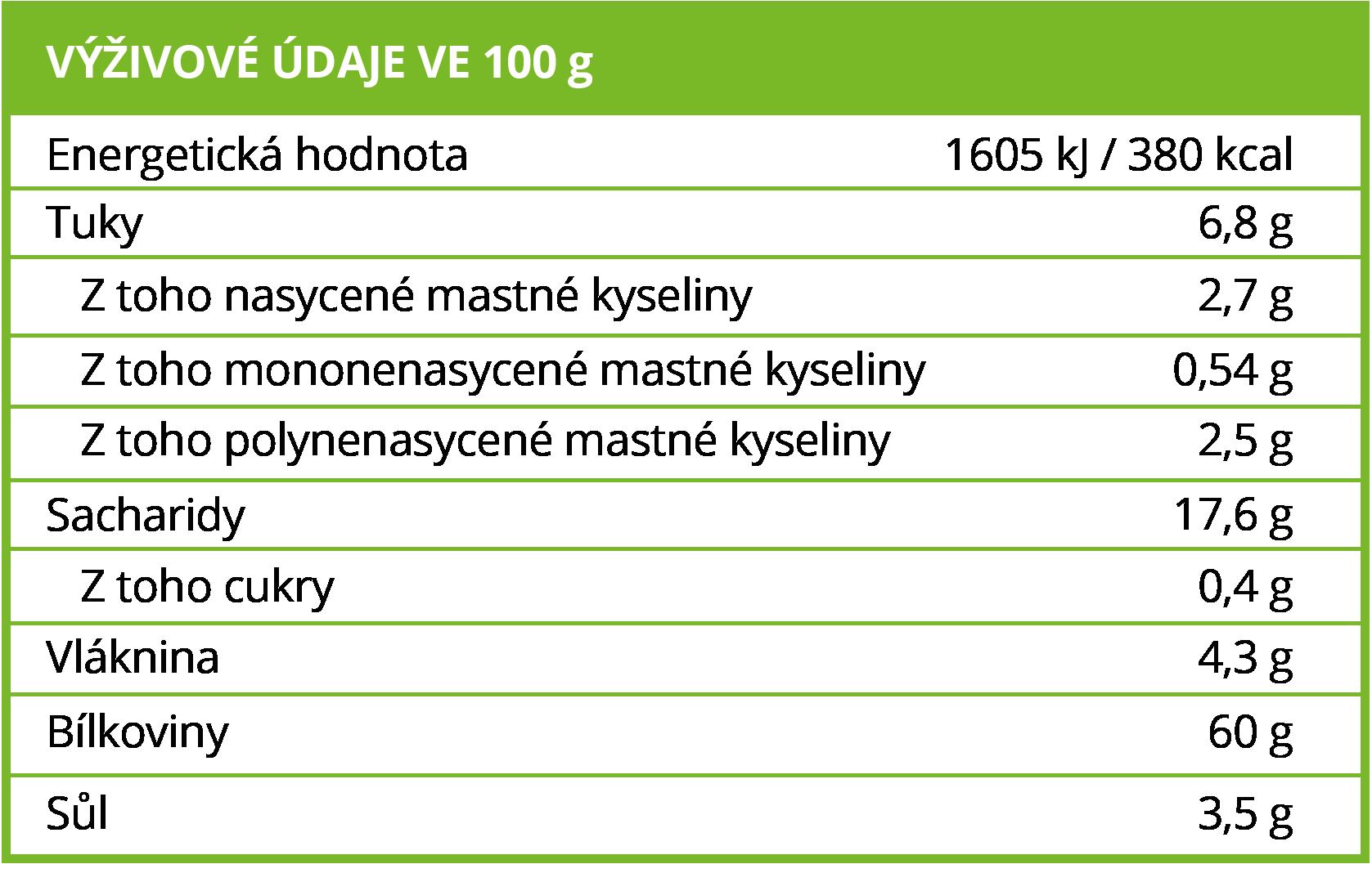 Výživové hodnoty BrainMax Pure Spirulina BIO prášek, 250 g - BrainMarket.cz