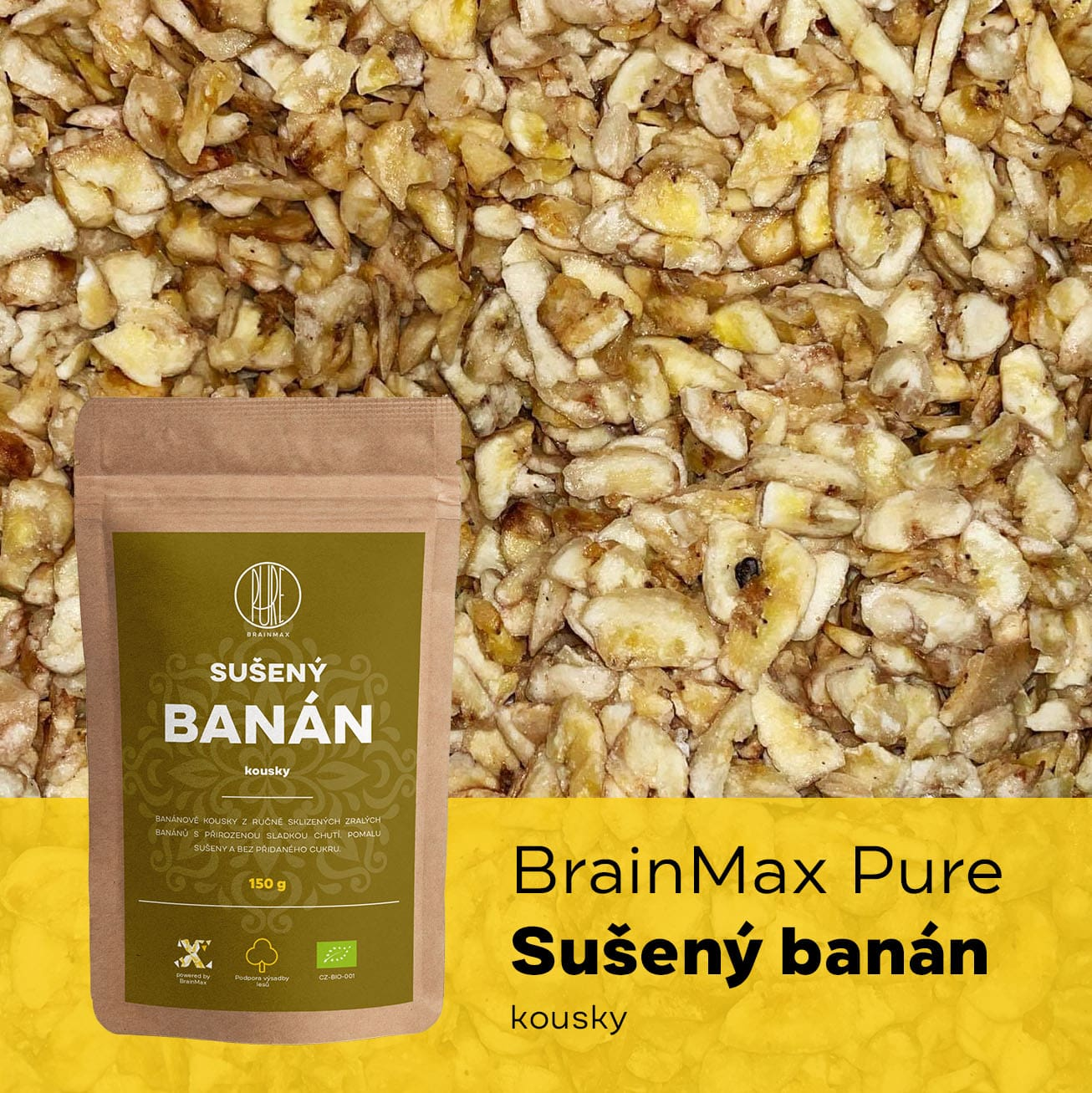 BrainMax Pure Sušený banán kousky - BrainMarket.cz