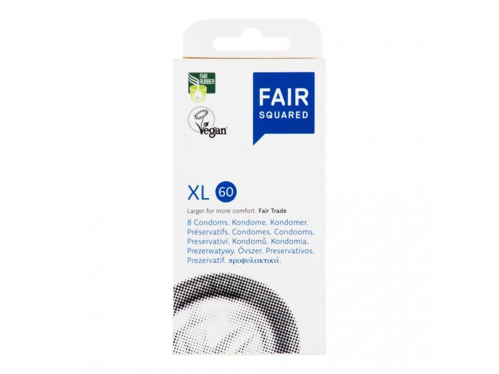 FAIR SQUARED - Veganský přírodní kondom - XL, 8ks