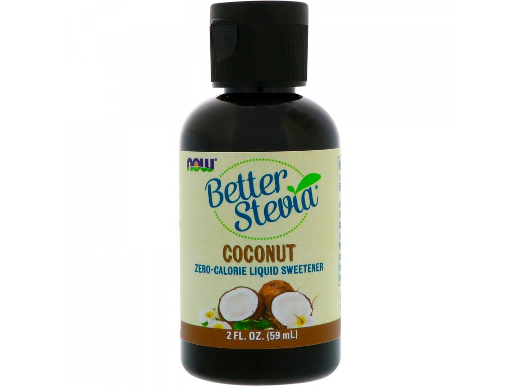 NOW Better Stevia Liquid, Kokos, 59ml
