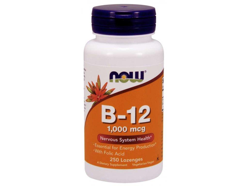 NOW Vitamin B12 with Folic Acid (Vit B12 a Kyselina listová), 1000 mcg, 250 pastilek